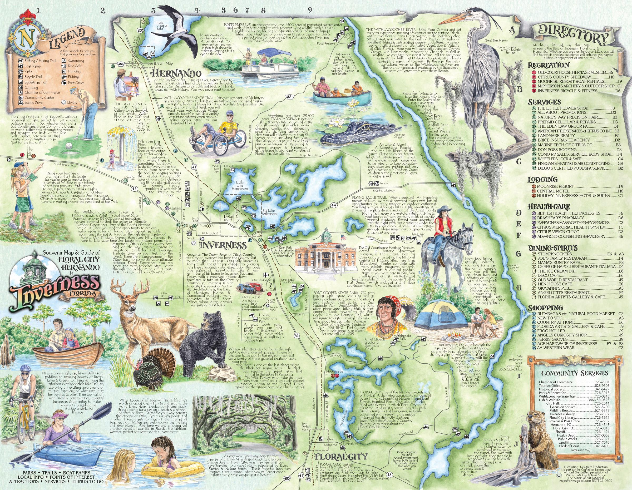 The Souvenir Map & Guide Of Inverness Fl - Hernando Florida Map