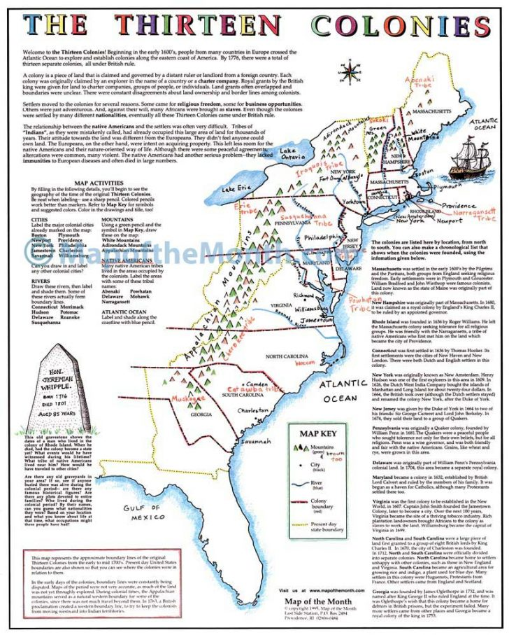 13 Colonies Map Printable