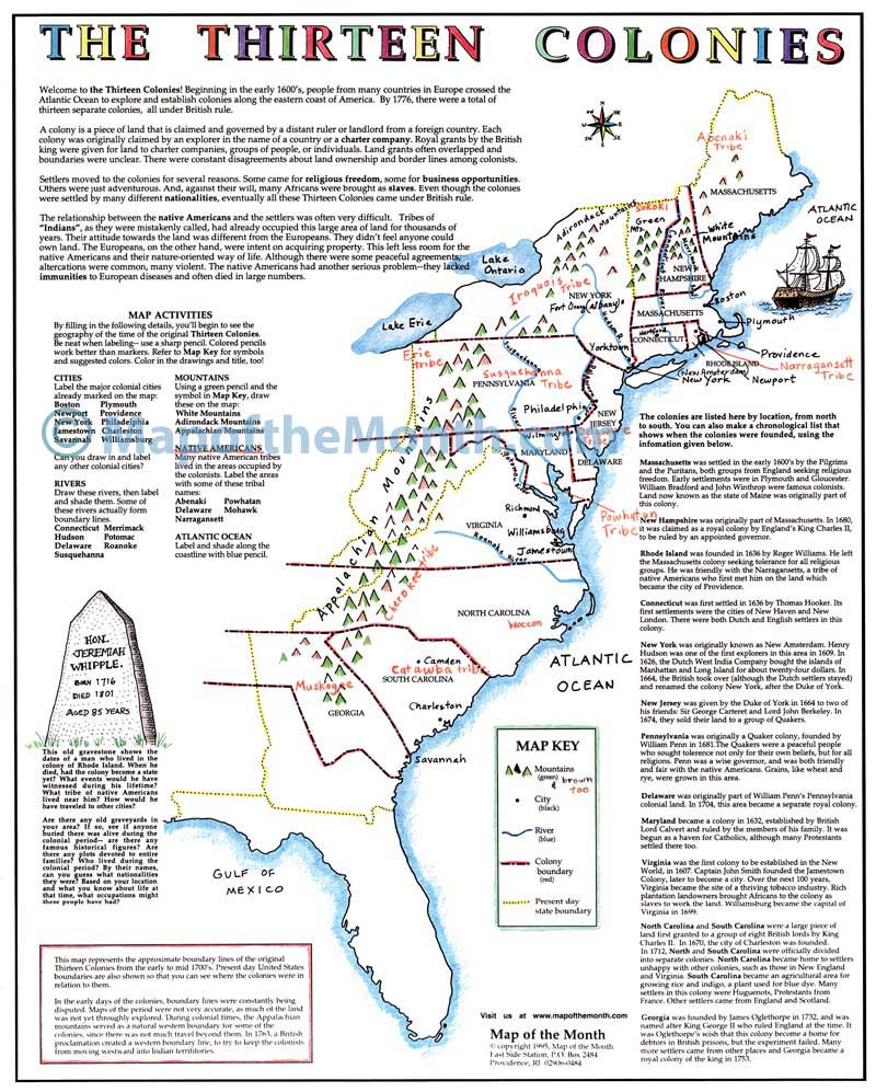 The Thirteen Colonies Map - Maps For The Classroom - 13 Colonies Map Printable