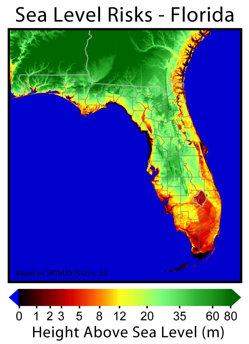 The Threats Are Biggest To - Florida Elevation Map Above Sea Level