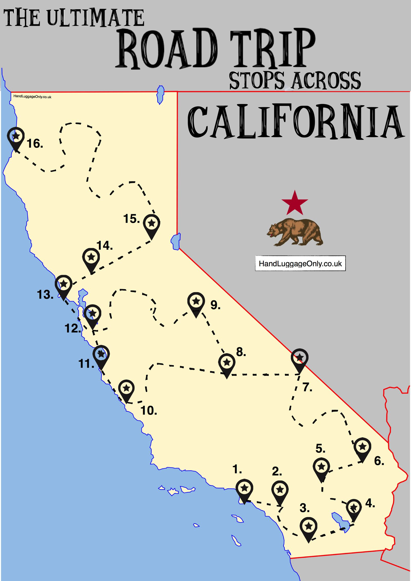 The Ultimate Road Trip Map Of Places To Visit In California - Hand - California Vacation Map