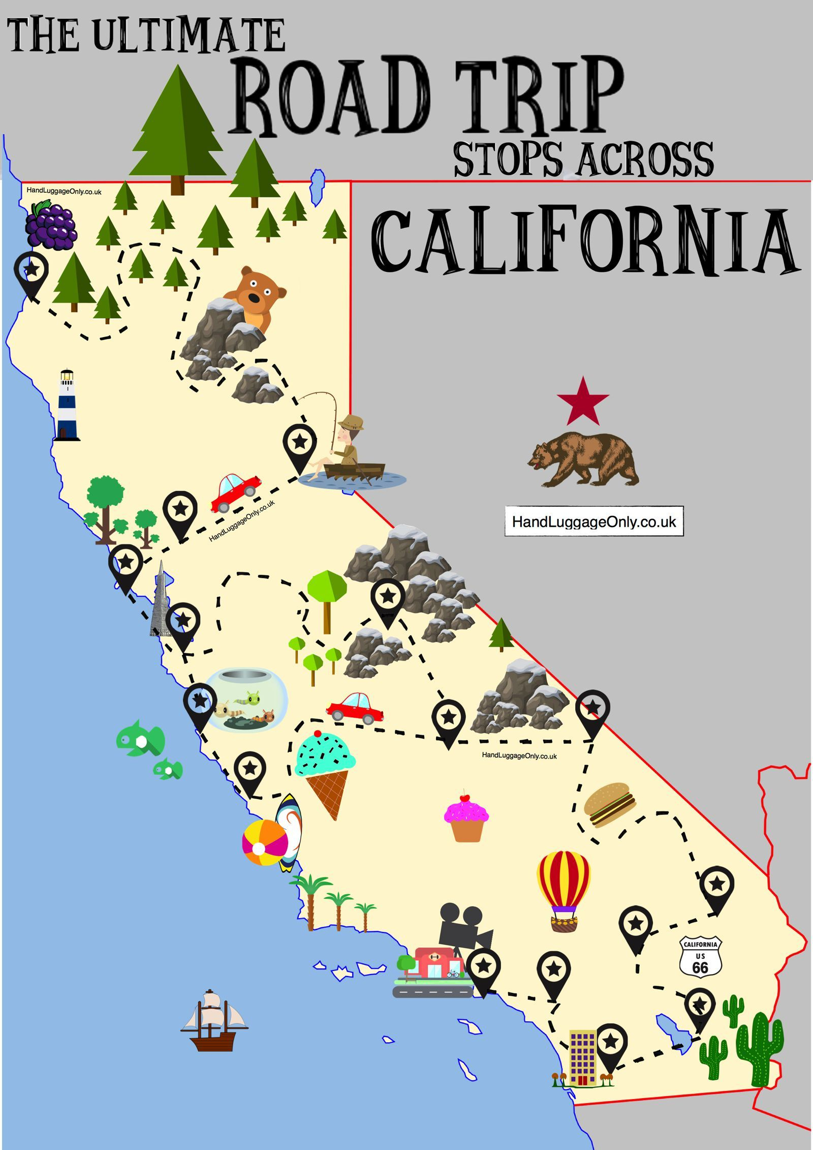 The Ultimate Road Trip Map Of Places To Visit In California   Travel - California Trip Planner Map