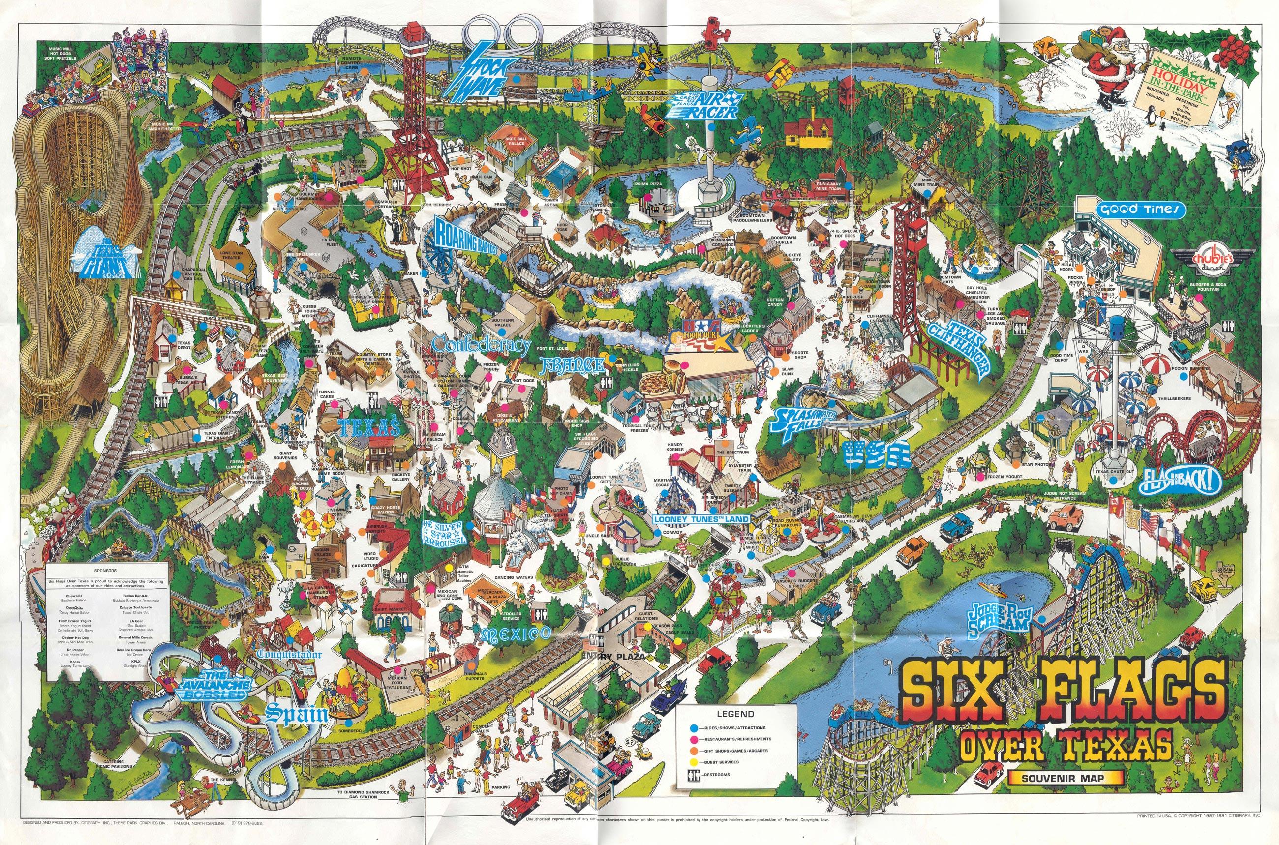 Theme Park Brochures Six Flags Over Texas - Theme Park Brochures - Six Flags Over Texas Map