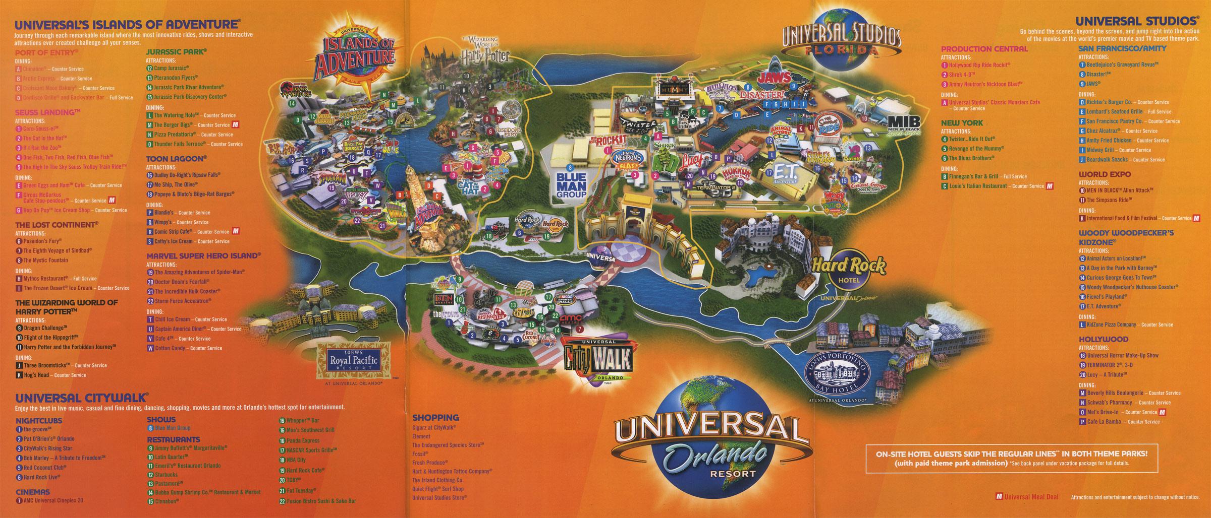 Theme Park Brochures Universal Orlando Resort - Theme Park Brochures - Universal Orlando Florida Map