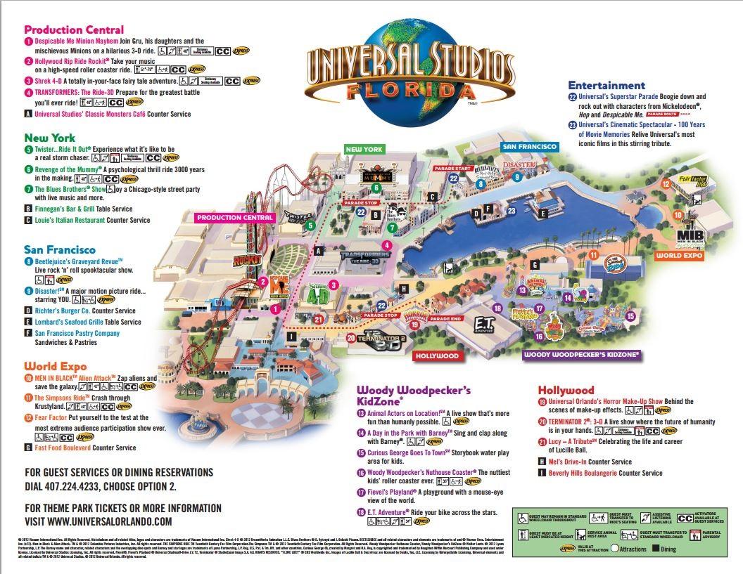 Theme Park Brochures Universal Studios Florida - Theme Park Brochures - Universal Studios Florida Citywalk Map