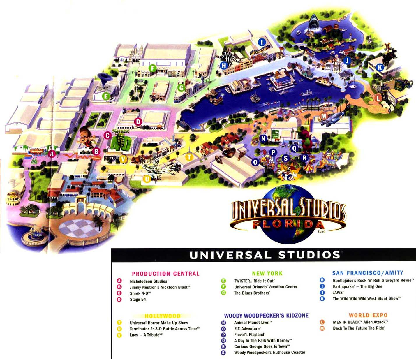 Theme Park Page - Park Map Archive - Universal Studios Florida Park Map