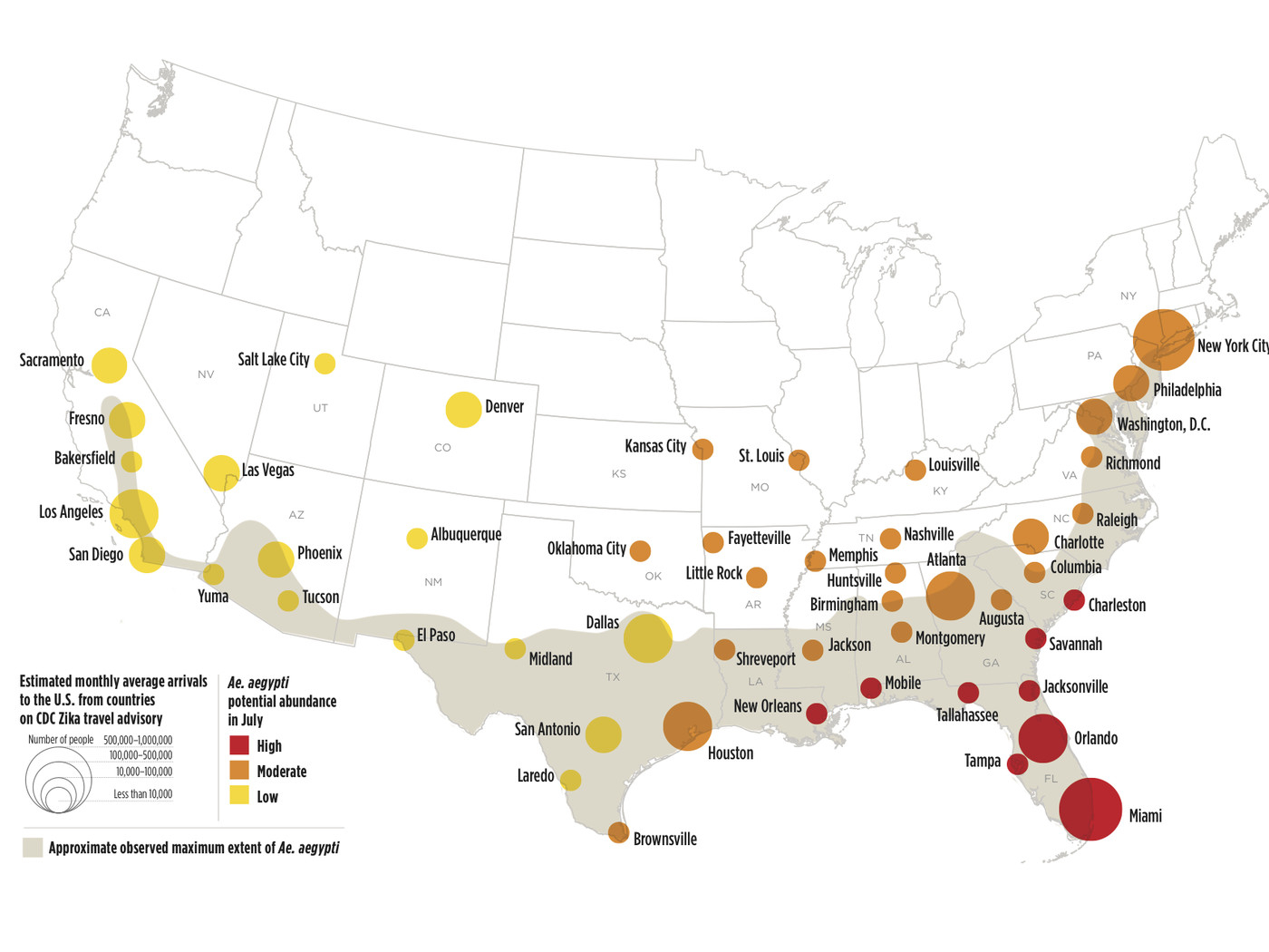 These Us Cities Are Most At Risk For Zika This Summer. (But Don't - Zika Virus Florida Map