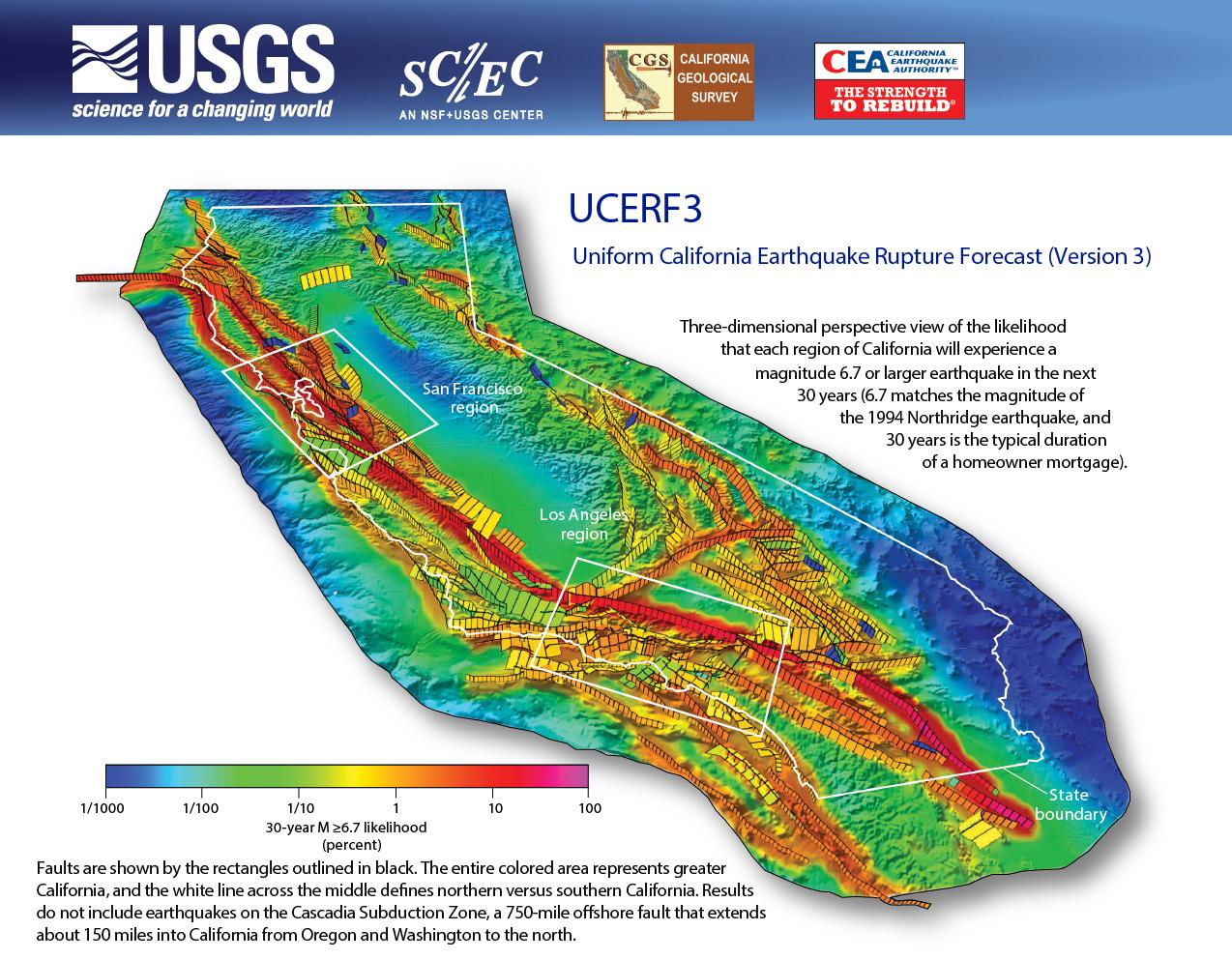 Third Uniform California Earthquake Rupture Forecast (Ucerf3 - Usgs Recent Earthquake Map California