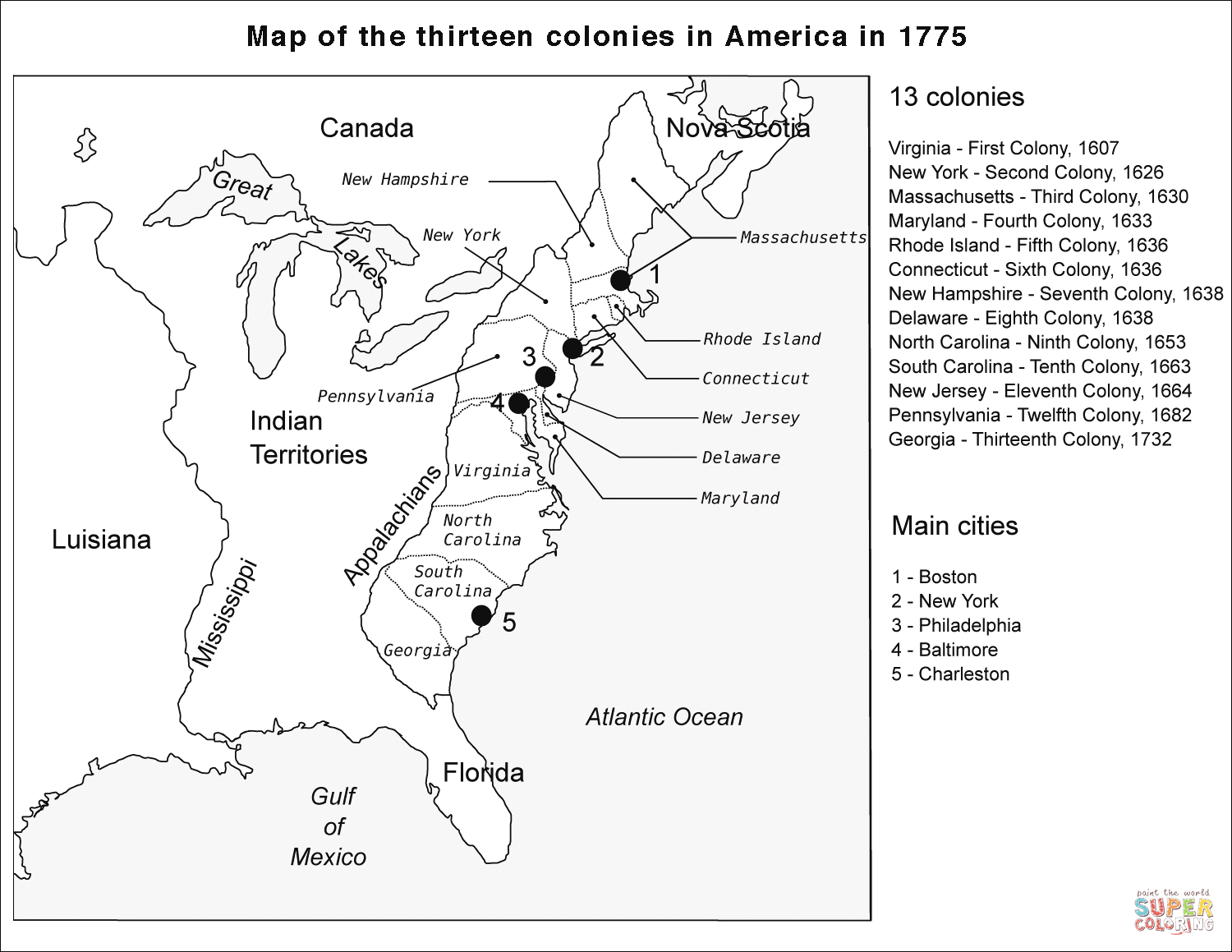 Thirteen Colonies Blank Map Coloring Page   Free Printable Coloring - 13 Colonies Blank Map Printable