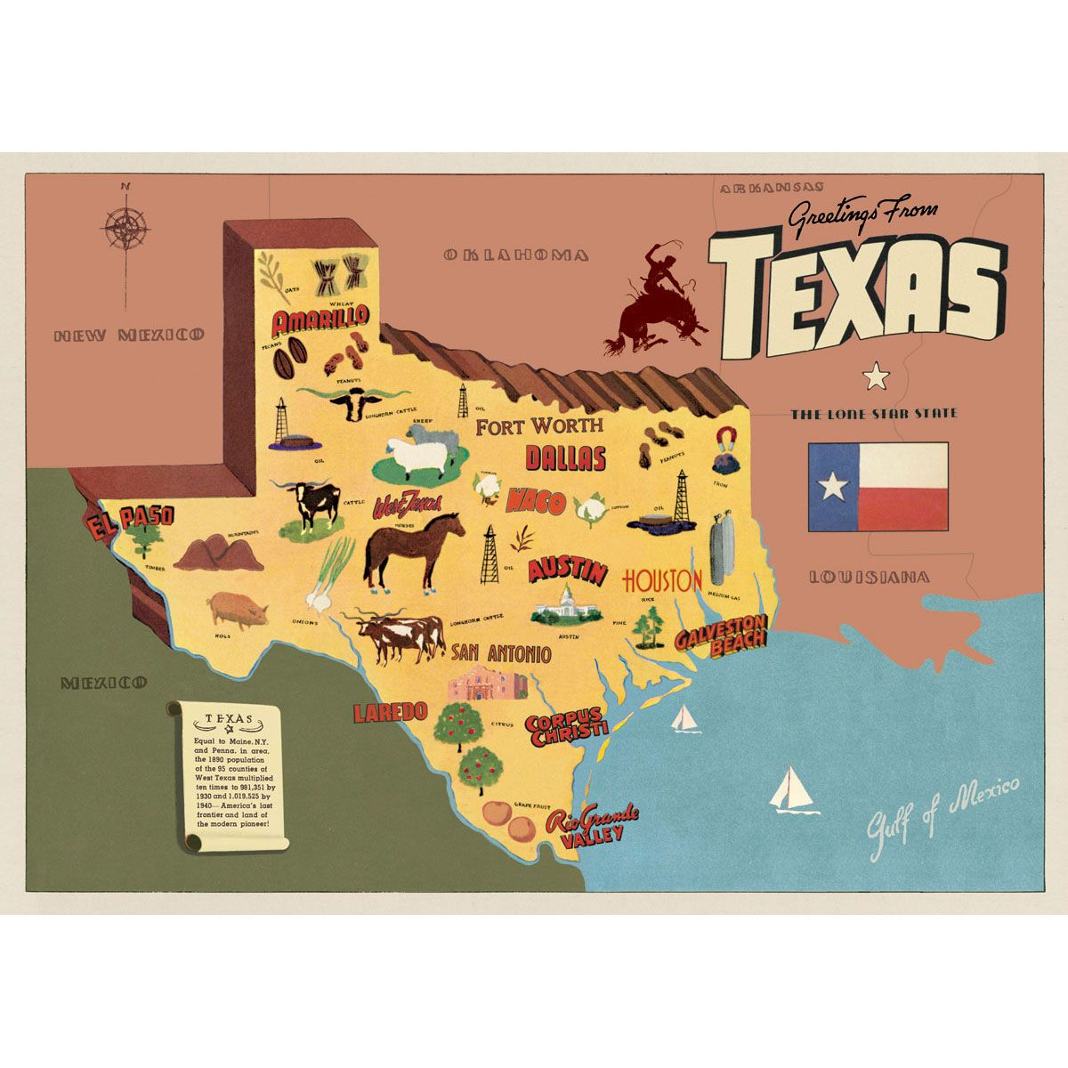 This Texas Sightseeing Map Souvenir Vintage Style Poster Is - Texas Sightseeing Map