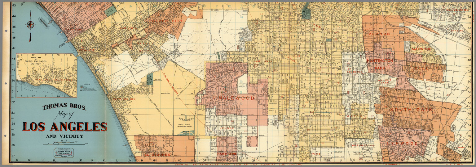 Thomas Bros. Map Of Los Angeles And Vicinity. Venice. Culver City - Thomas Bros Maps California