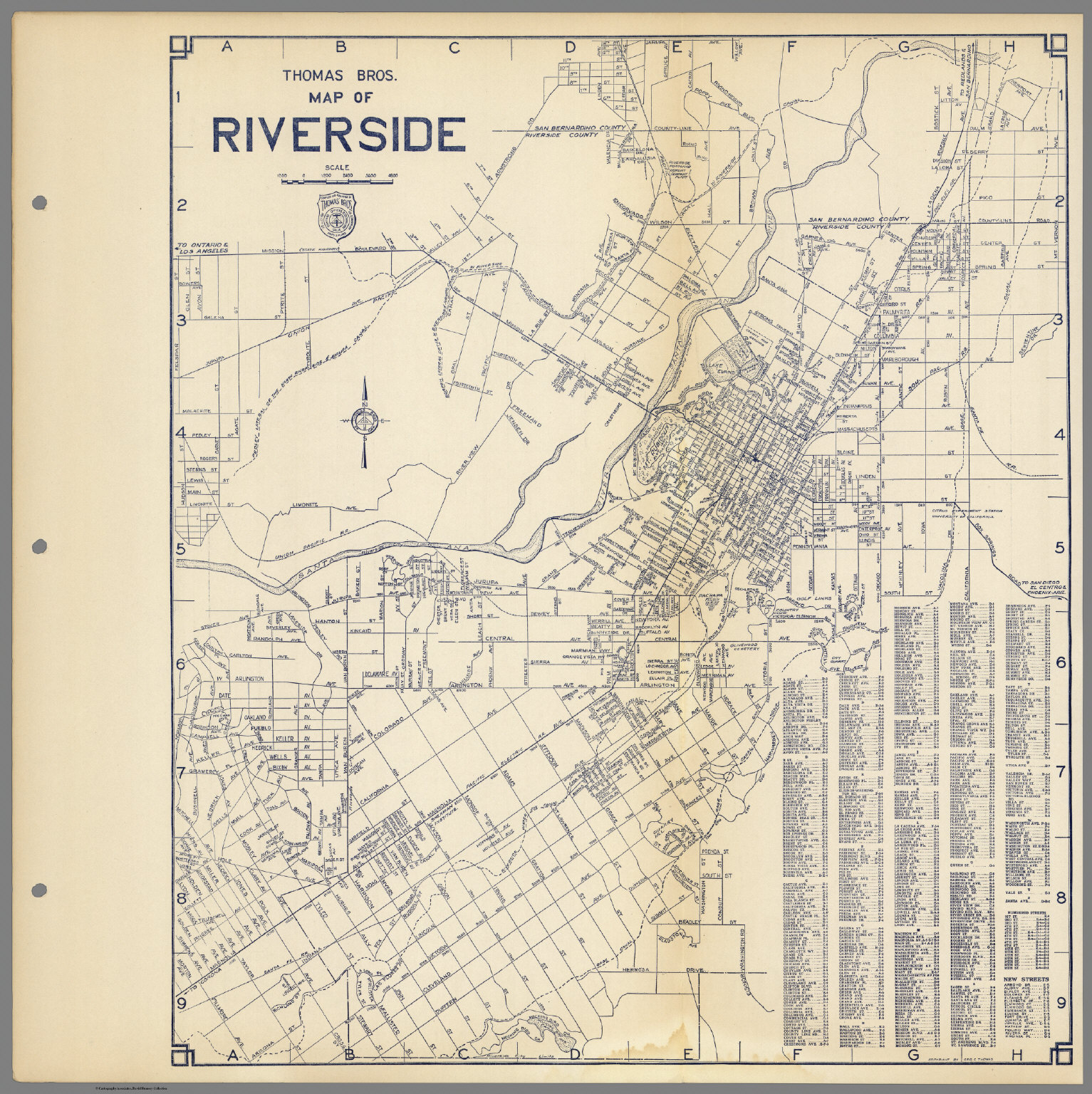 Thomas Bros. Map Of Riverside, California. - David Rumsey Historical - Printable Map Of Riverside Ca