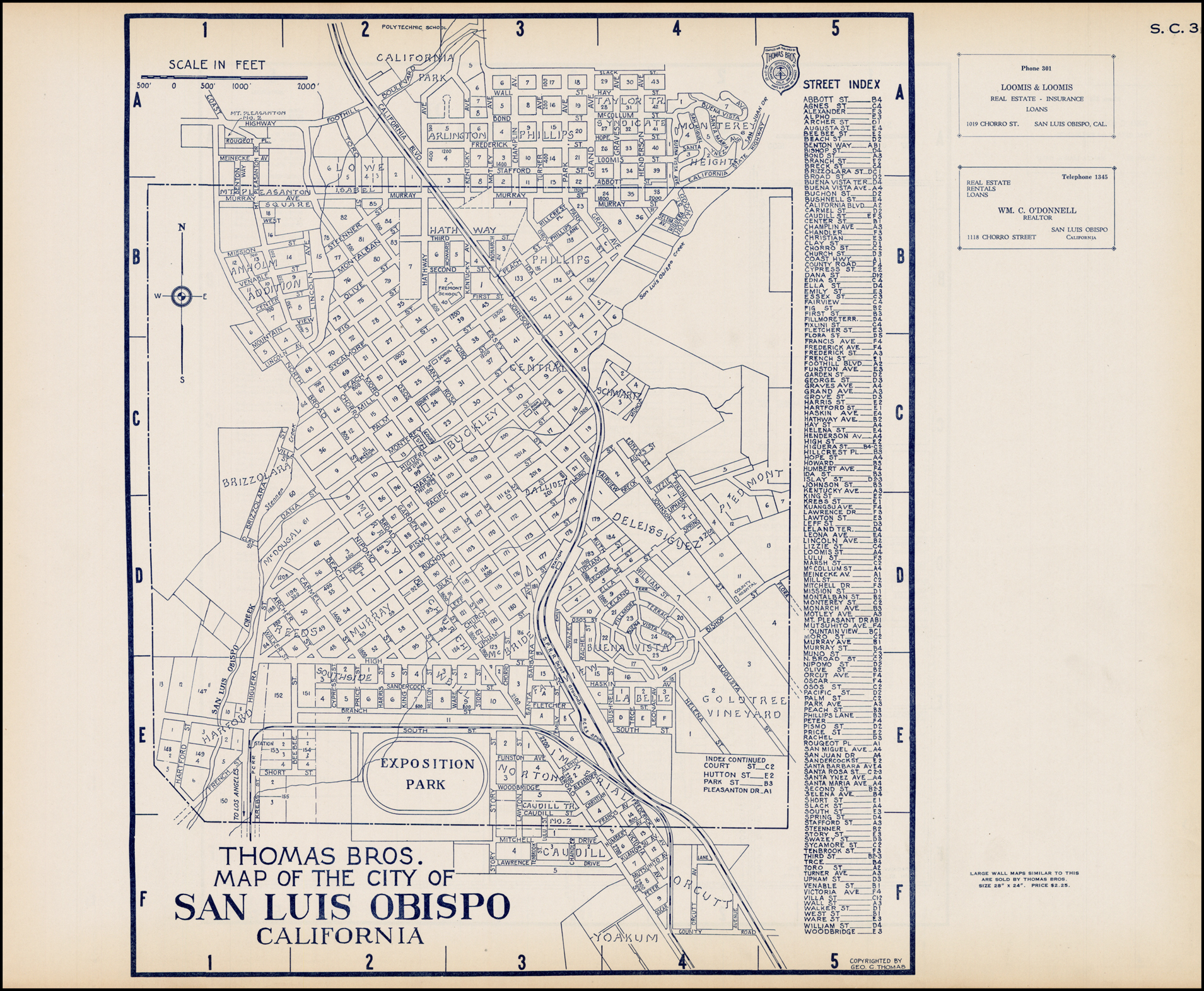 Thomas Bros. Map Of The City Of San Luis Obispo California - Barry - Thomas Bros Maps California