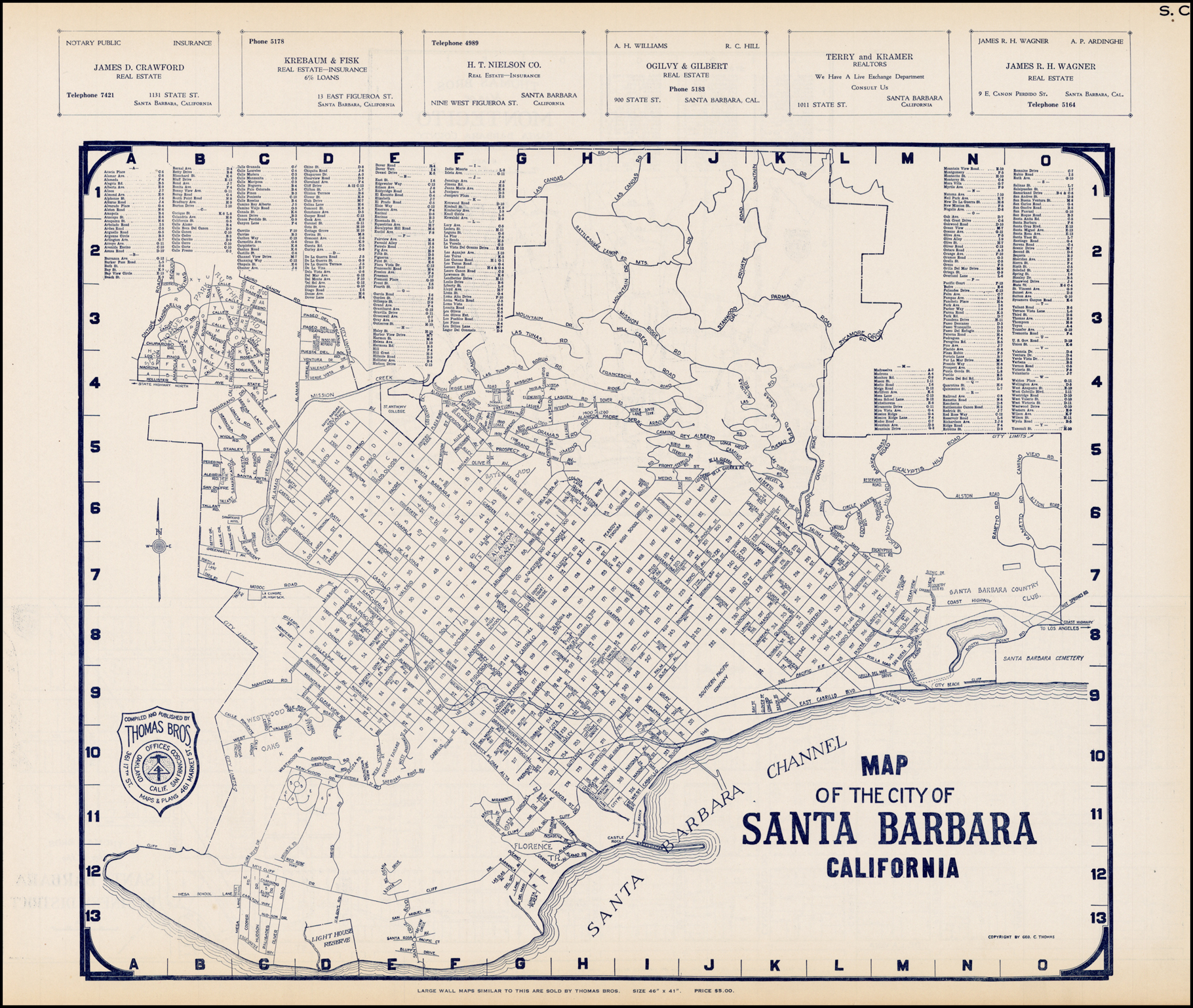 Thomas Bros. Map Of The City Of Santa Barbara California - Barry - Thomas Bros Maps California