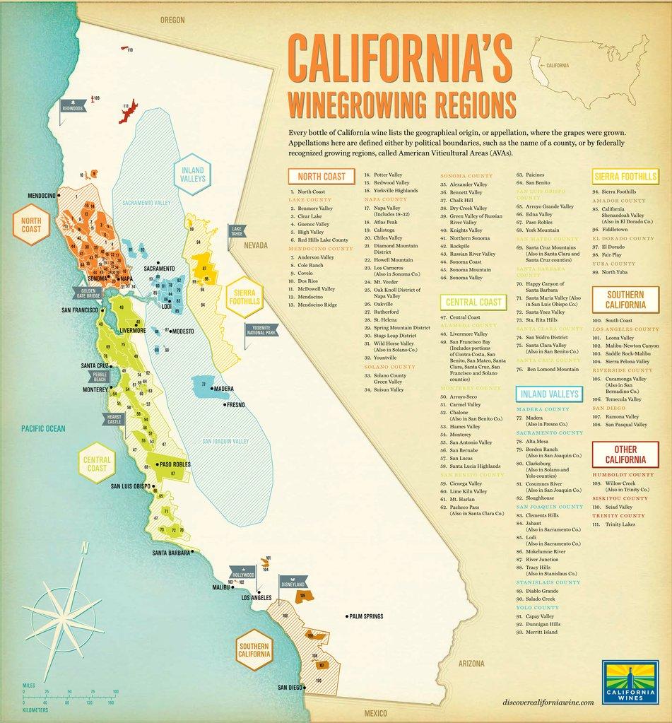 Thumbnail Map Of Cities Wine Regions California Map - Klipy - California Ava Map
