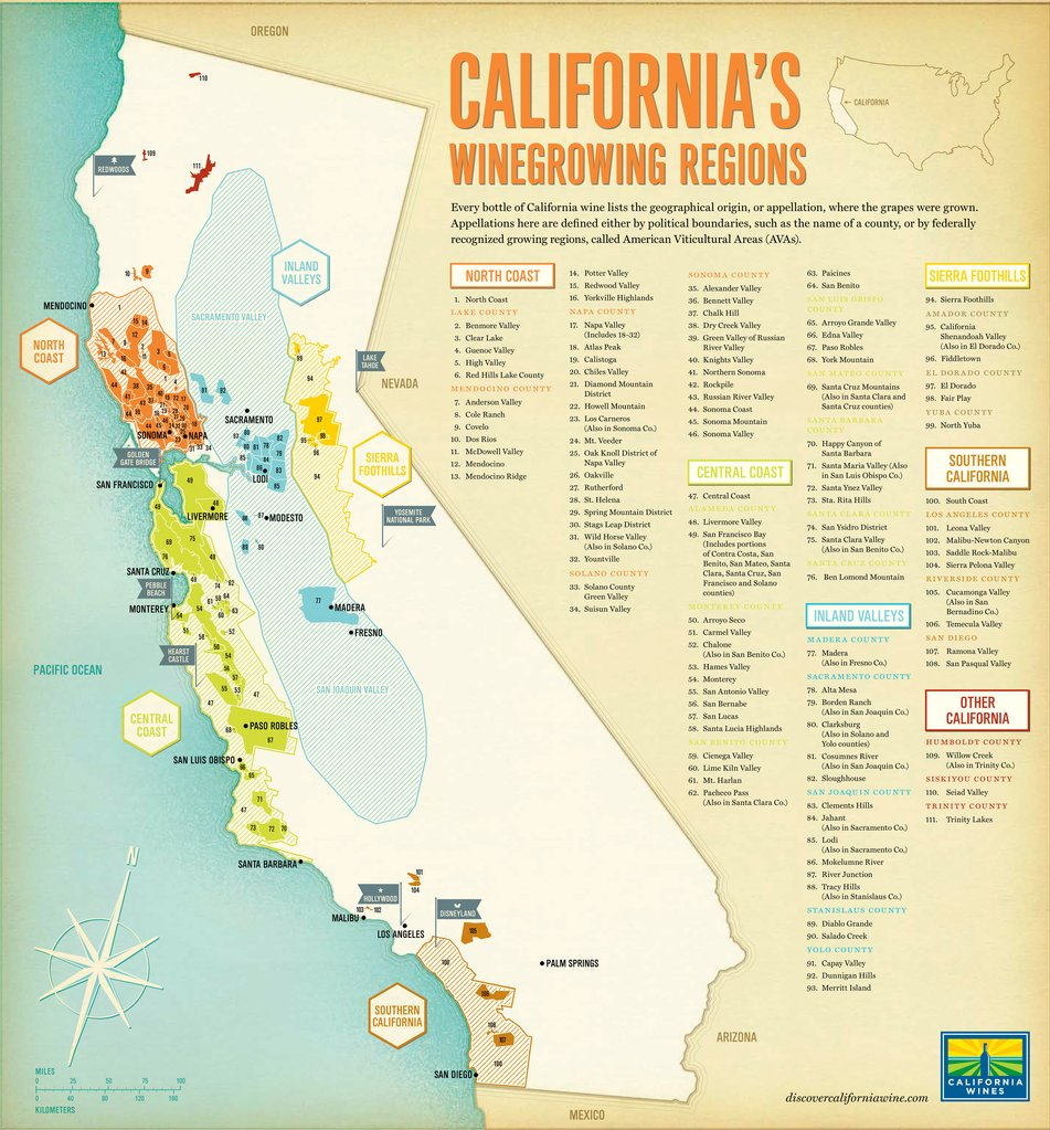 Thumbnail Map Of Cities Wine Regions California Map - Klipy - Wine Country Map Of California