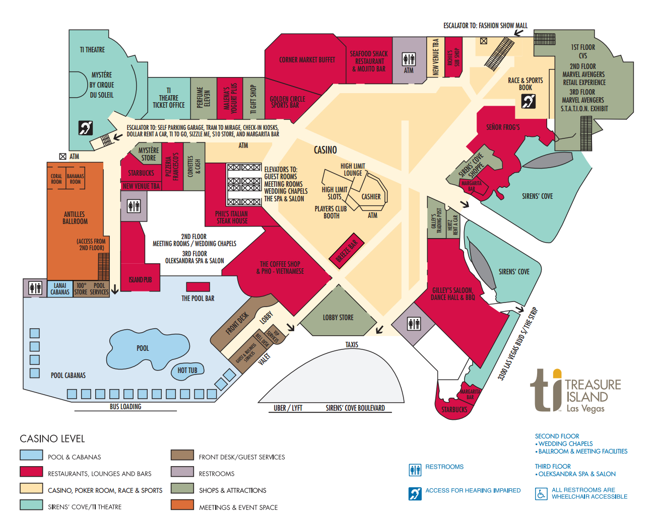 Ti Hotel Property Map Treasure Island Hotel And Casino, Las Vegas - Treasure Island Florida Map