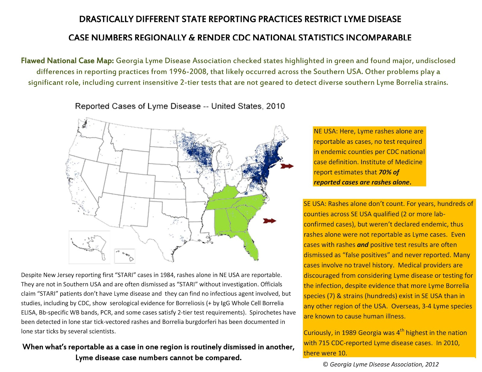 Tick-Borne Disease Blog Georgia Lyme Disease Association - Lyme Disease In Florida Map