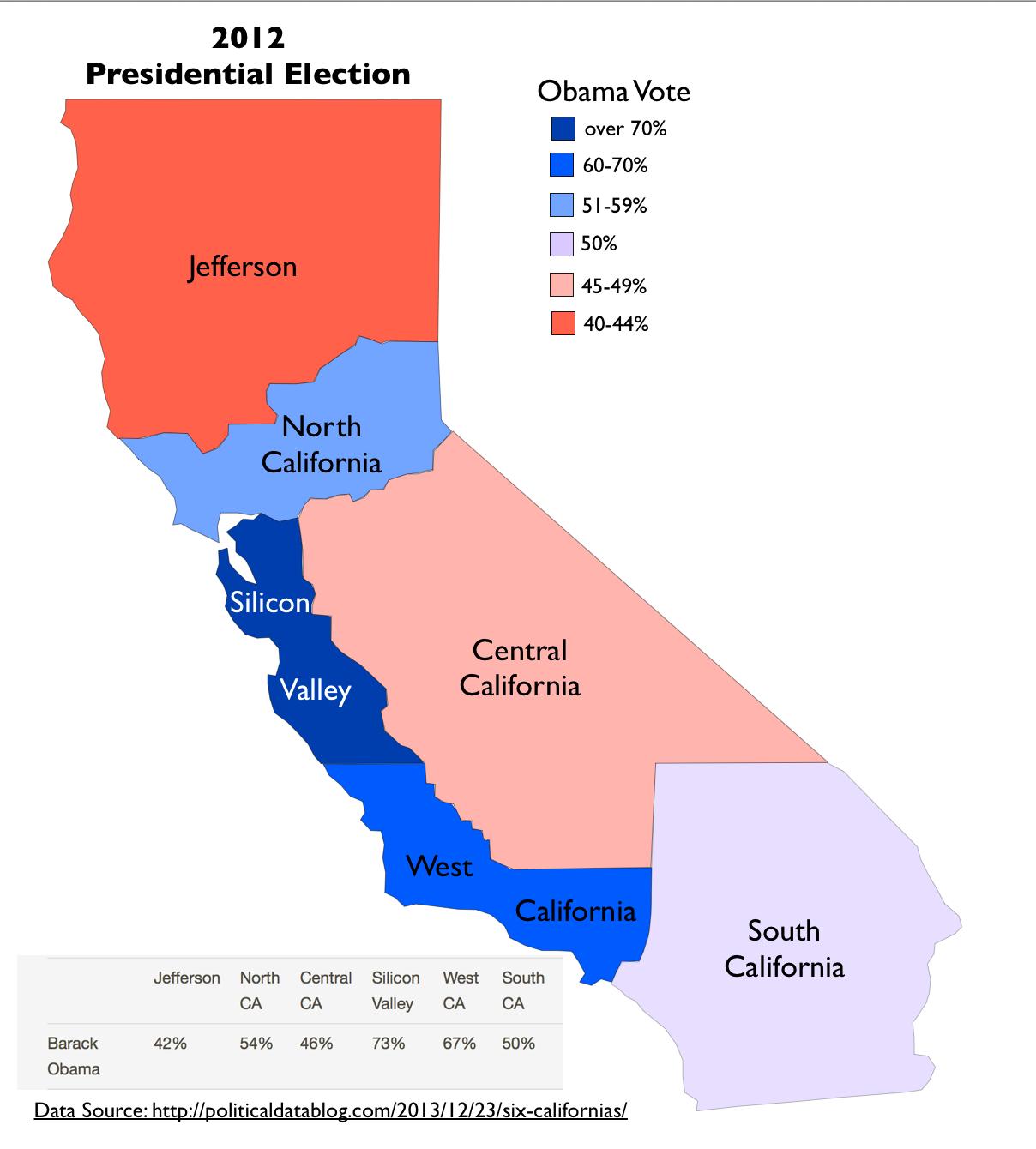 "Tim Draper's Proposed ""Six Californias""   Geocurrents - Divide California Map"