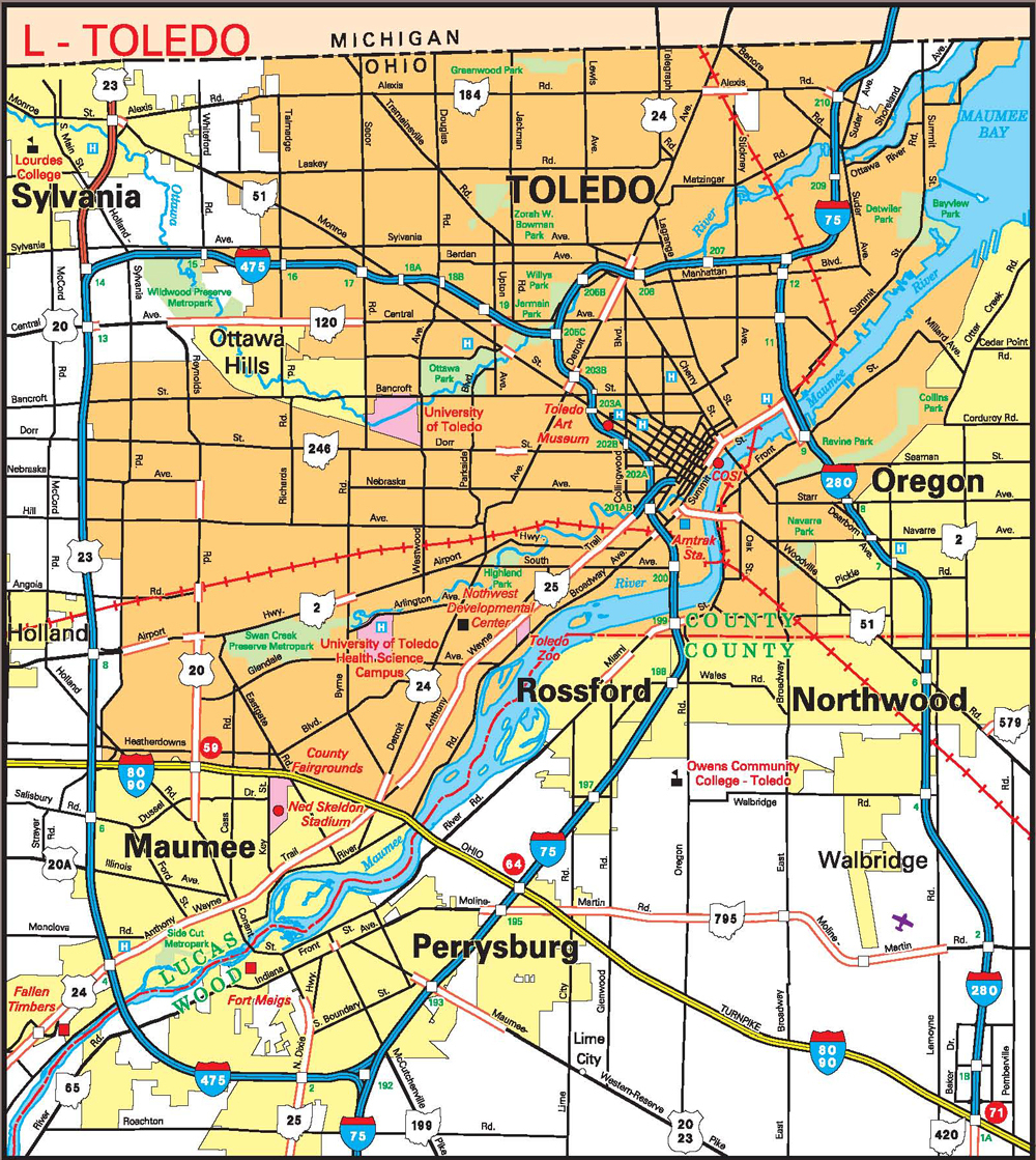 Toledo Map - Falsomesias - Printable Map Of Toledo Ohio