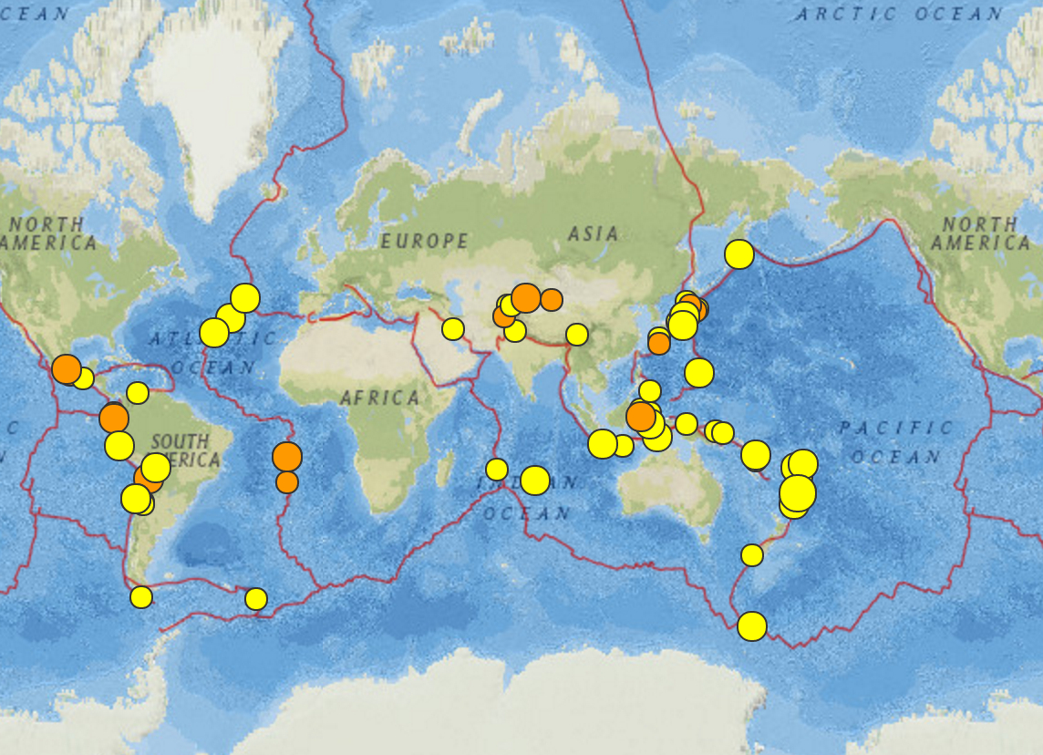 Tonga-Kermadec Trench, Chile And Florida (Florida?): Earthquakes 14 - Florida Earthquake Map