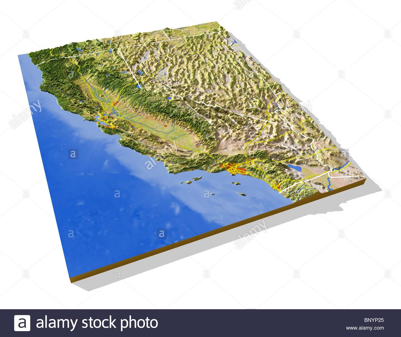 Topographic Map California Photos & Topographic Map California - 3D Map Of California