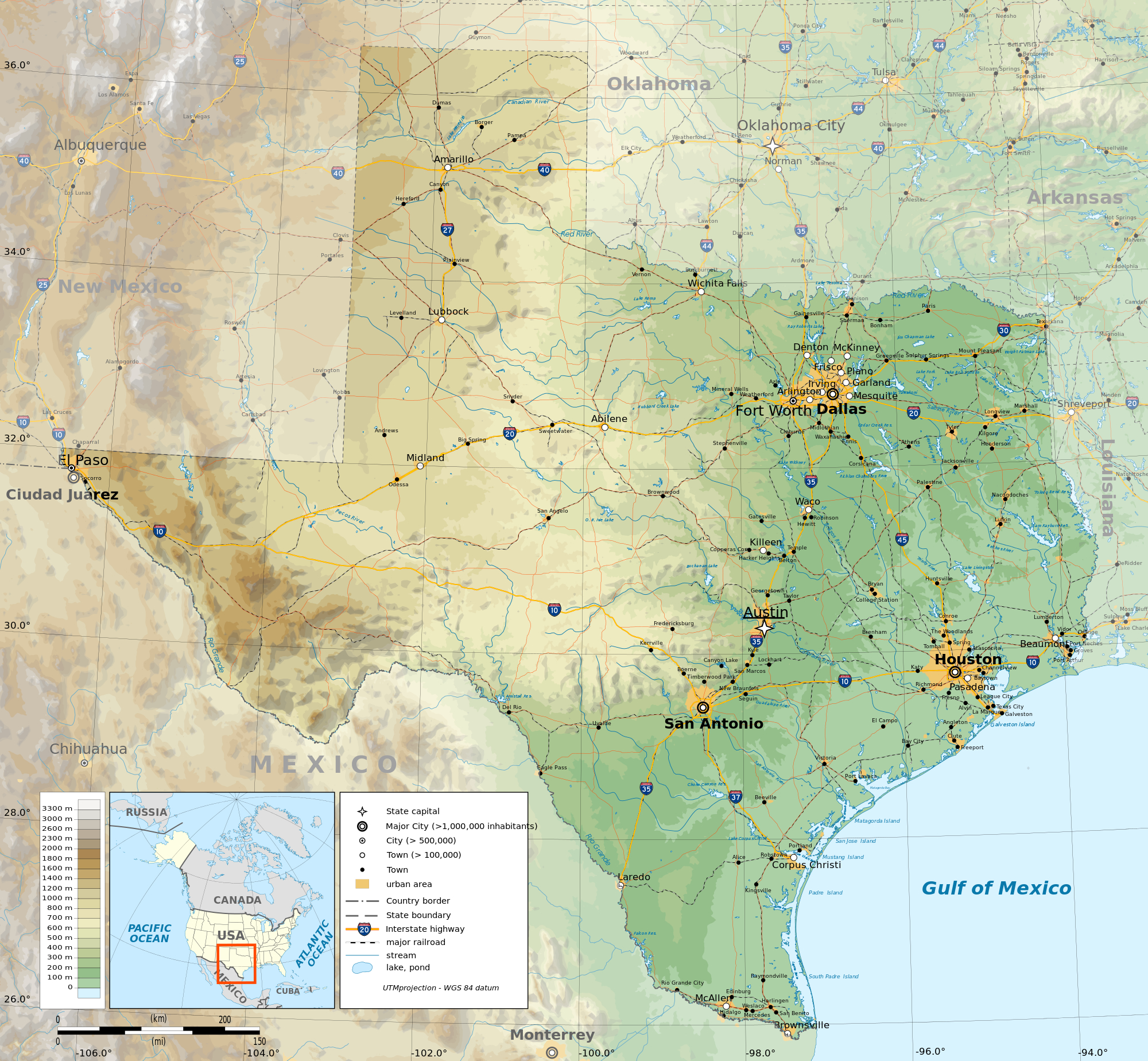 Topographic Map Of Texas   Business Ideas 2013 - Texas Elevation Map By County