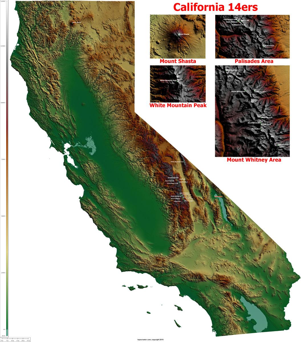 Topographic Maps California - Klipy - California Elevation Map