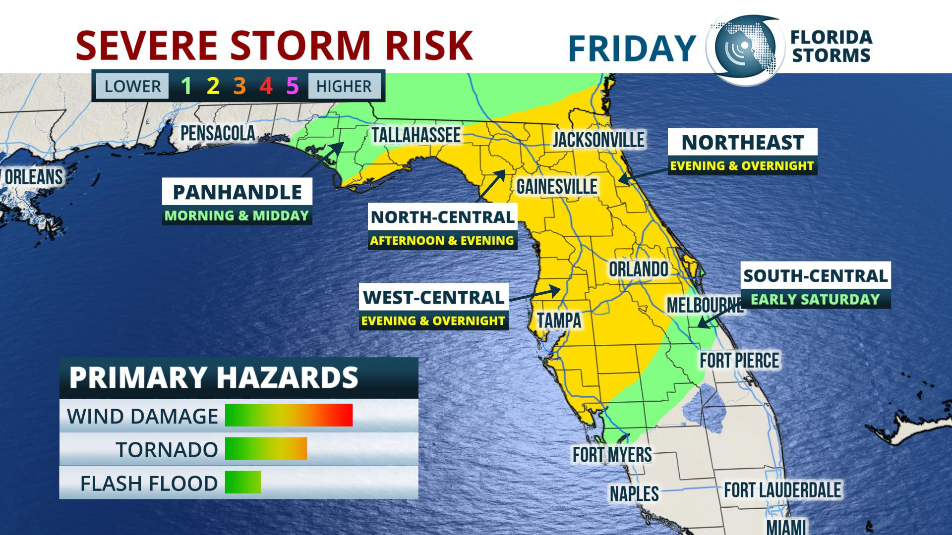 Tornado, Flood And Wind Damage Risk In Florida Friday - Florida Storms - Flood Maps Gainesville Florida
