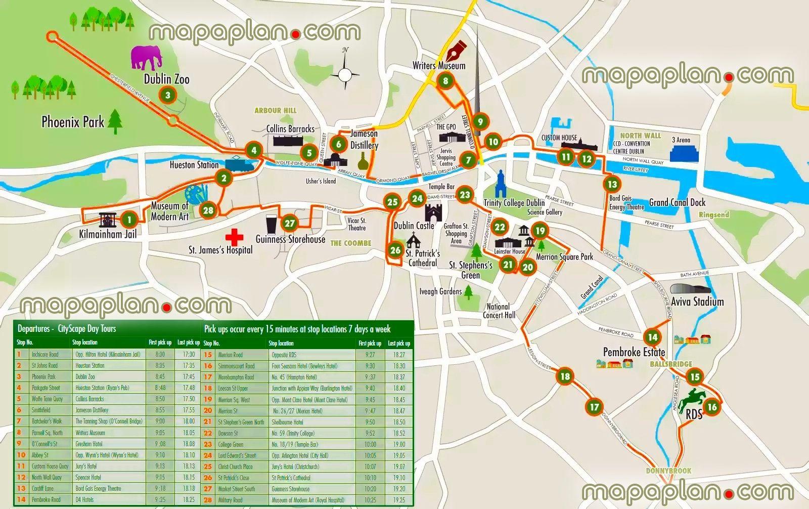 Tourist Attractions In Dublin Dublin Maps Top Tourist Attractions - Dublin City Map Printable