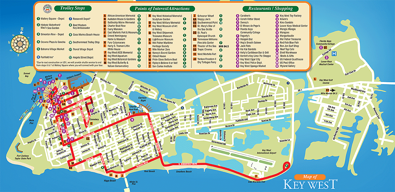 Tourist Attractions In Key West City Florida - Google Search - Map Of Key West Florida Attractions