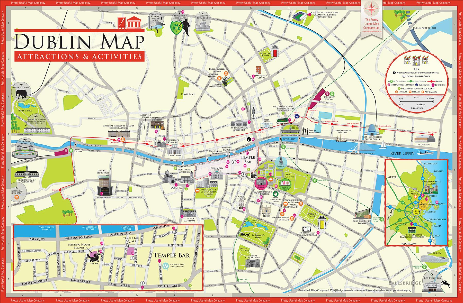 Tourist Map Dublin - Map Of Dublin Tourist Attractions (Ireland) - Dublin Tourist Map Printable