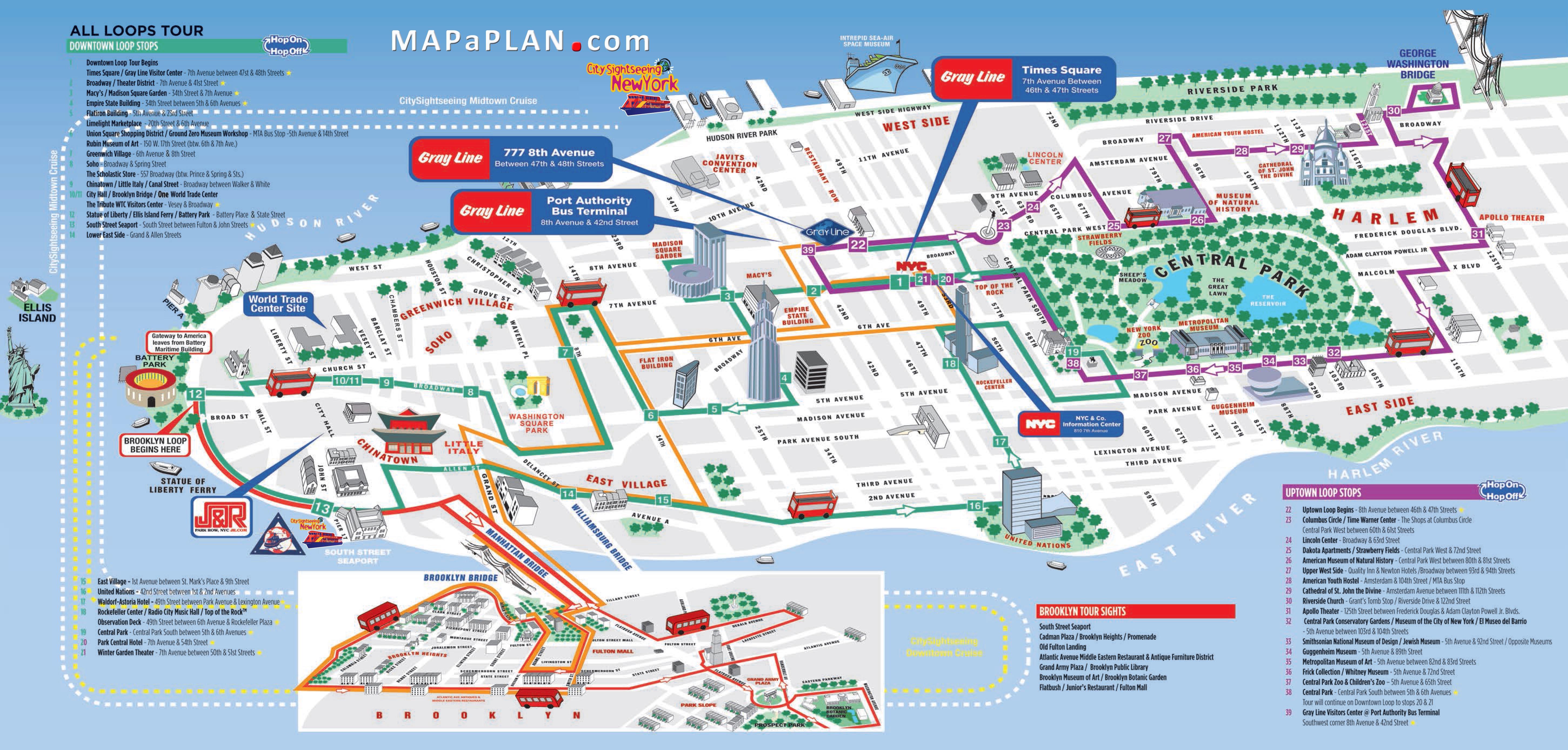 Tourist Map Of New York City Printable   Travel Maps And Major - Printable Walking Map Of Manhattan