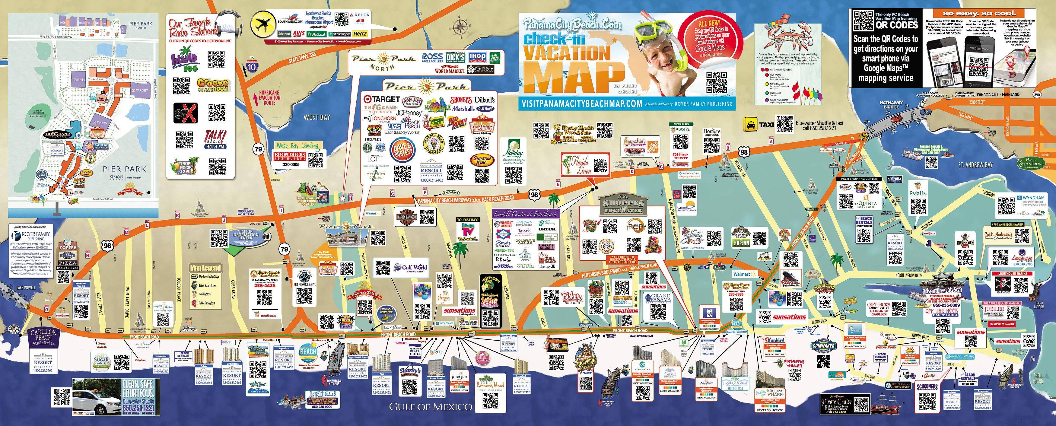 Tourist Map Of Panama City Beach   To The Beach!   Pinterest - Map Of Panama City Beach Florida