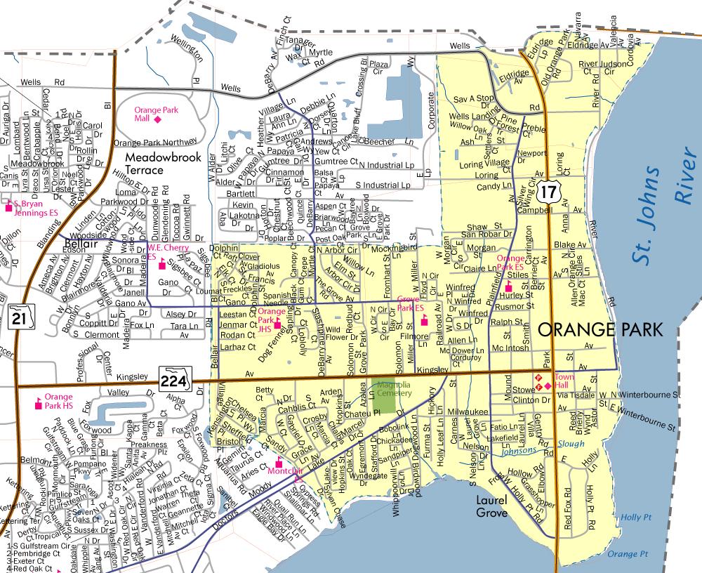 Town Limits & Map - Town Of Orange Park - Orange Florida Map