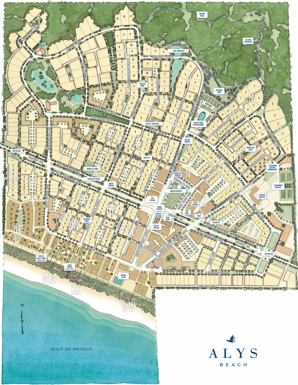 Town Map | Alys Beach - Alys Beach Florida Map