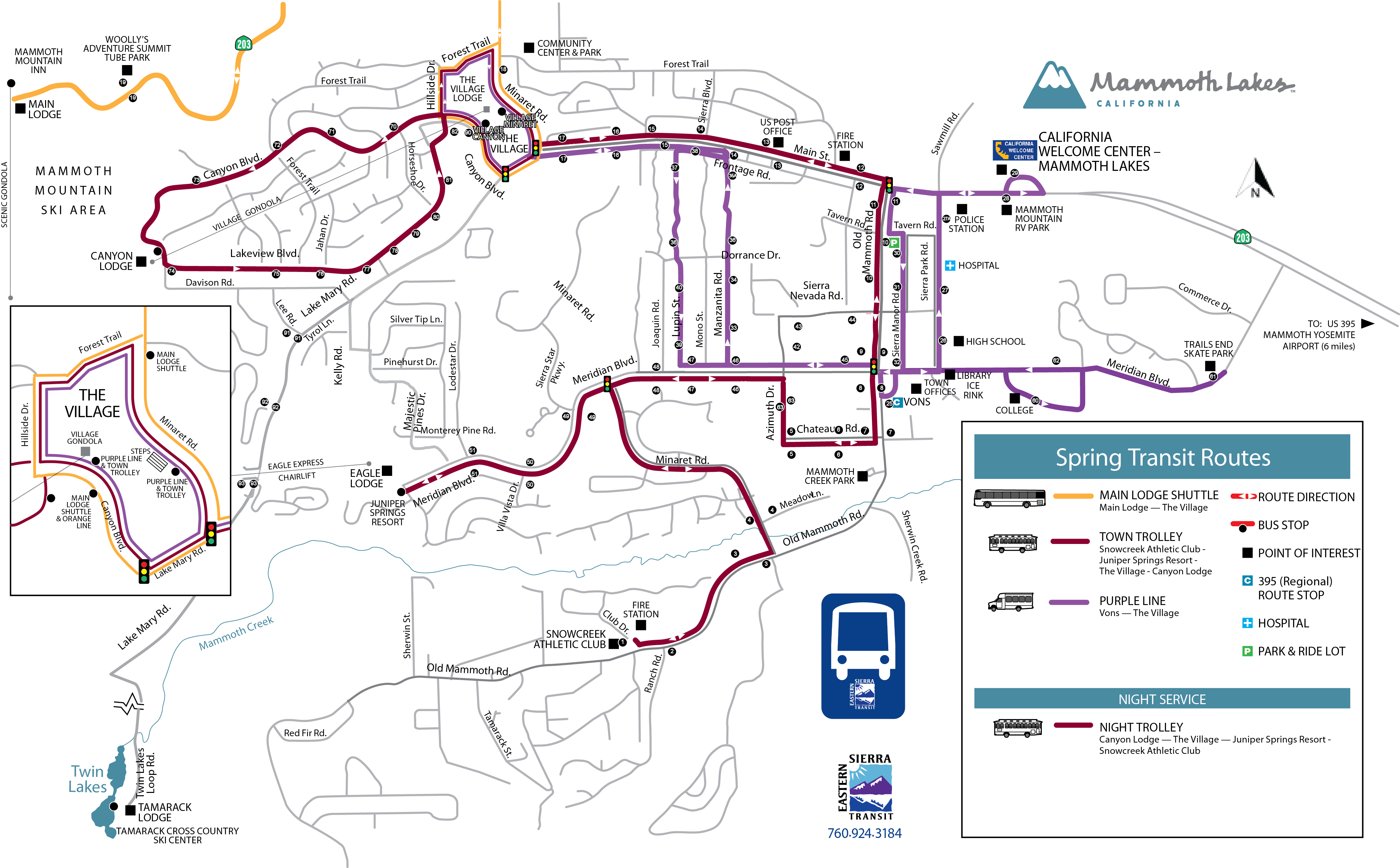 Town Trolley – Spring/fall Schedule – Eastern Sierra Transit Authority - Mammoth California Map