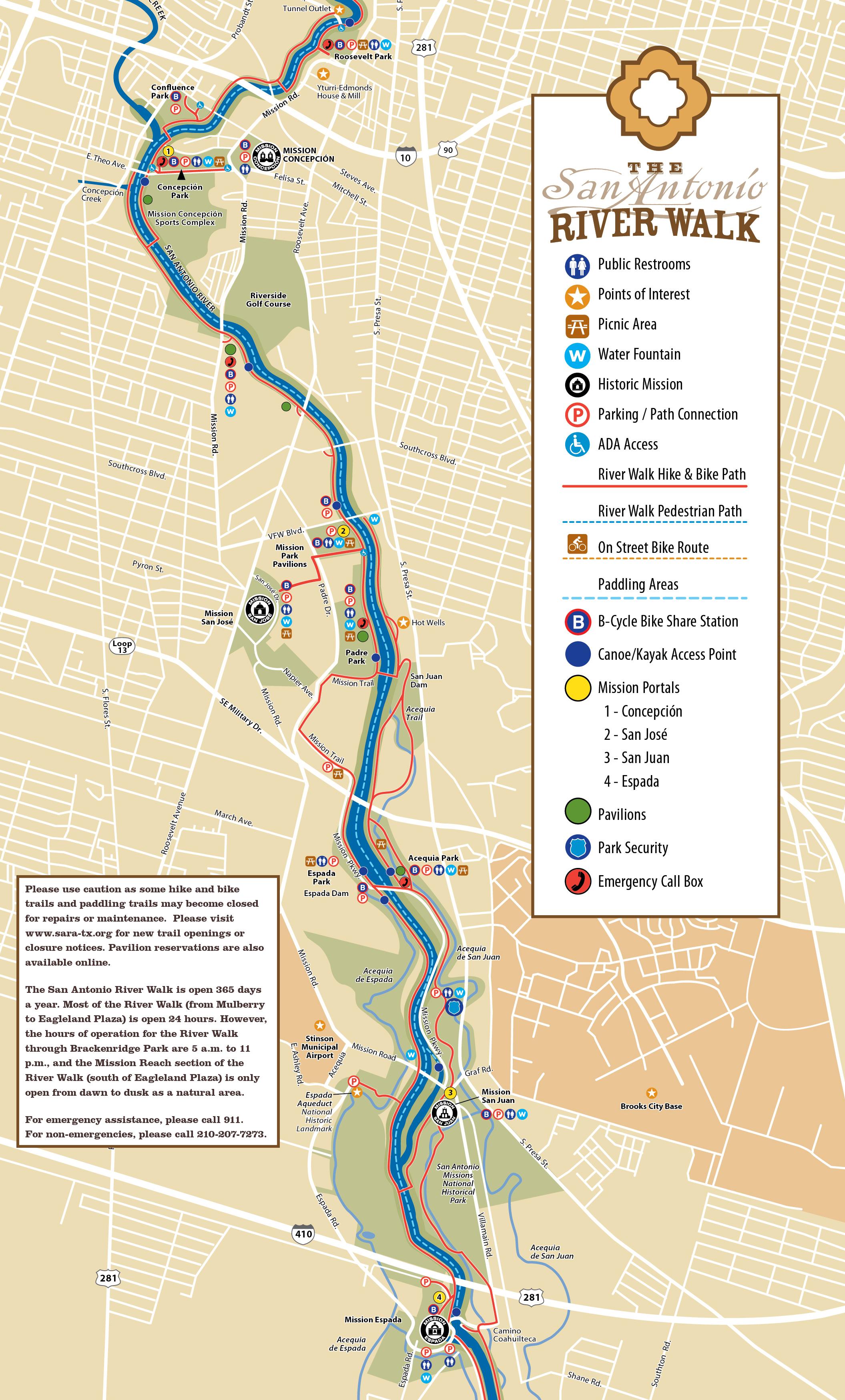 Tpwd: Mission Reach Paddling Trail     Texas Paddling Trails - Texas Kayak Fishing Maps