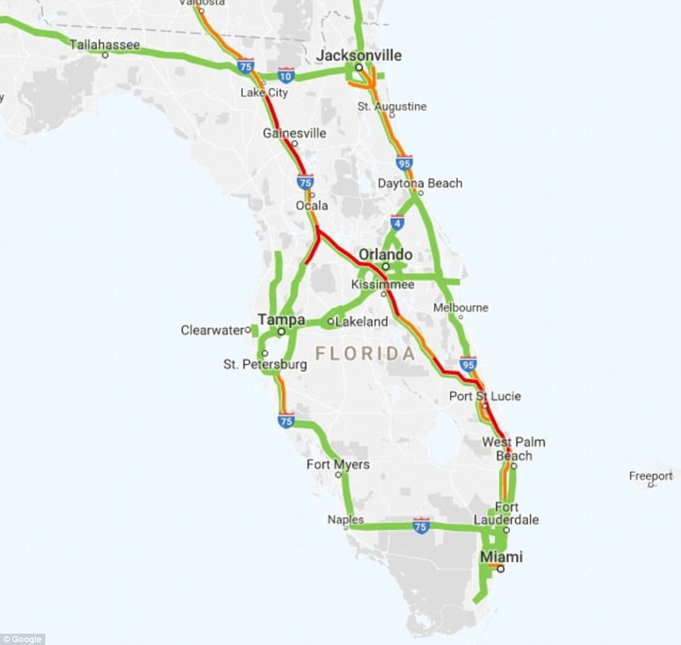 Traffic Nightmares As People Flee Florida Before Irma Hits | Daily - Florida Traffic Map