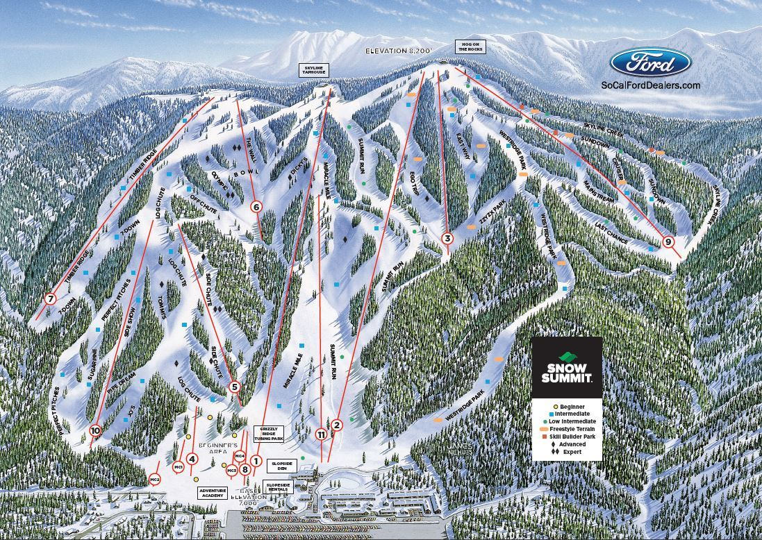 Trailmap California Road Map Southern California Ski Resorts Map - Big Bear Mountain Map California