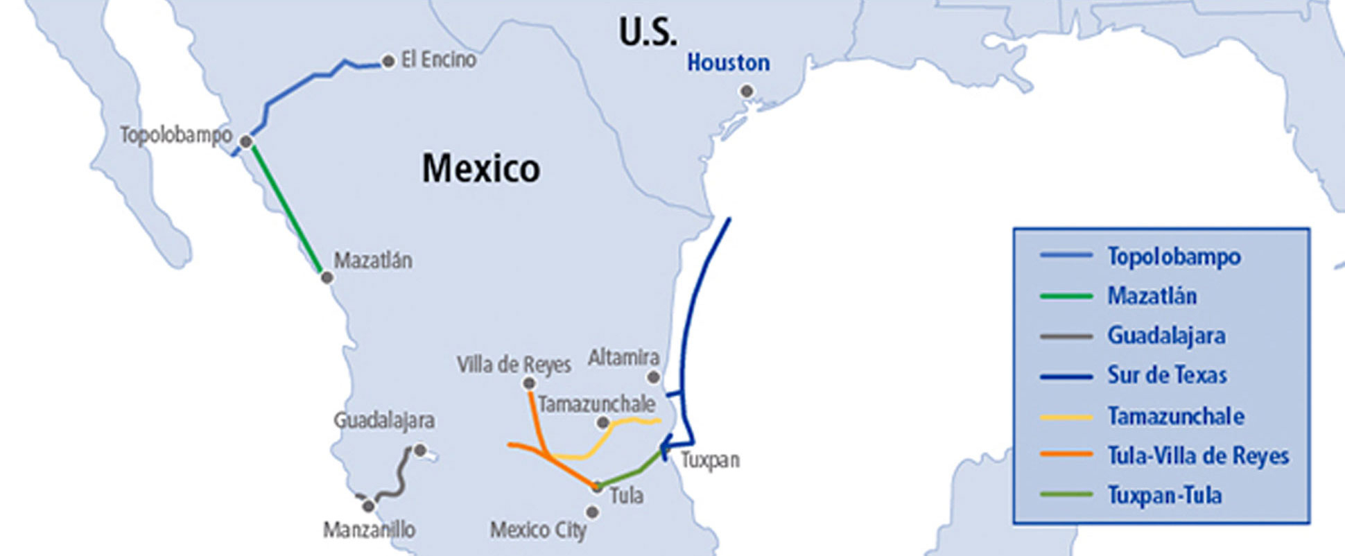Transcanada Halts Work On Two Pipeline Projects In Central Mexico - Texas Gas Pipeline Map