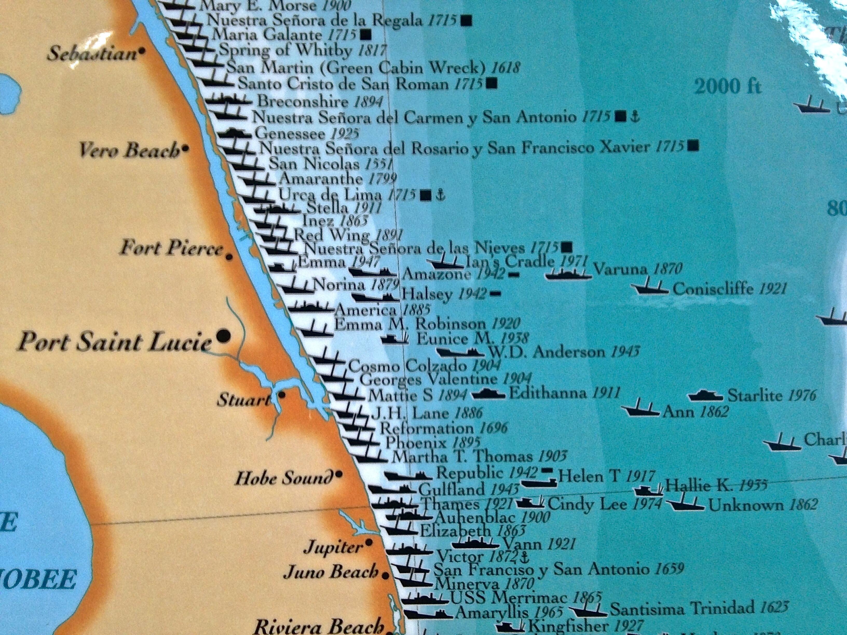 Treasure Coast Ships Map | Jacqui Thurlow-Lippisch - Florida Wreck Diving Map