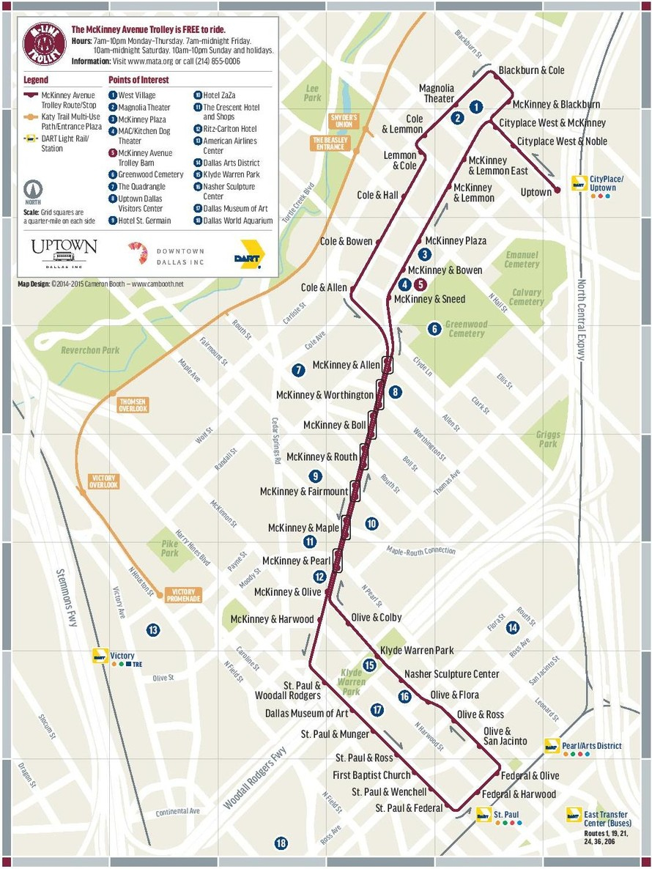 Trolley, Mckinney Avenue Transit Authority, M-Line, Dallas, Tx - Street Map Of Mckinney Texas