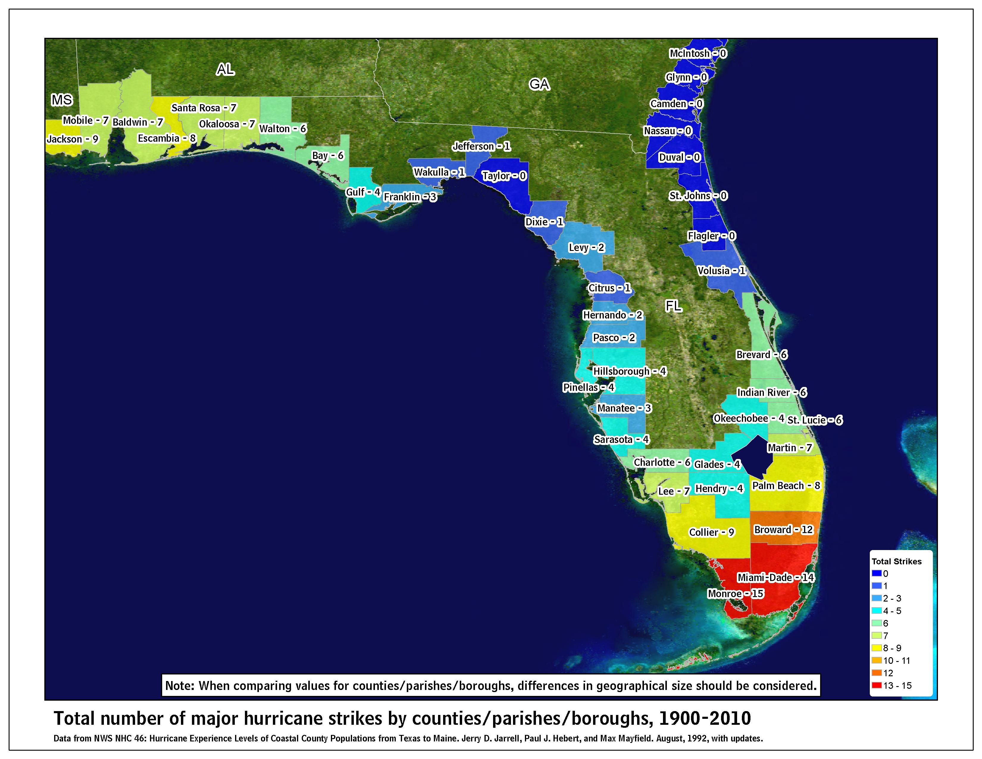 Tropical Cyclone Climatology - Florida Hurricane Damage Map