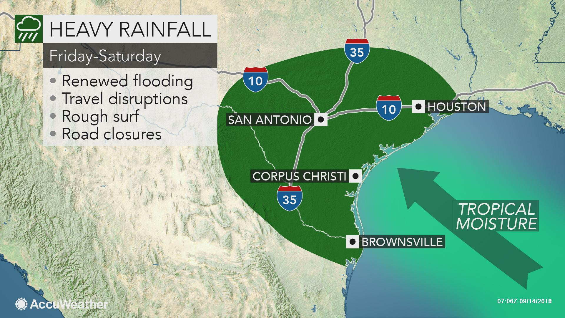 Tropical Disturbance Over Texas To Trigger Flash Flood Risk Into - Texas Satellite Weather Map