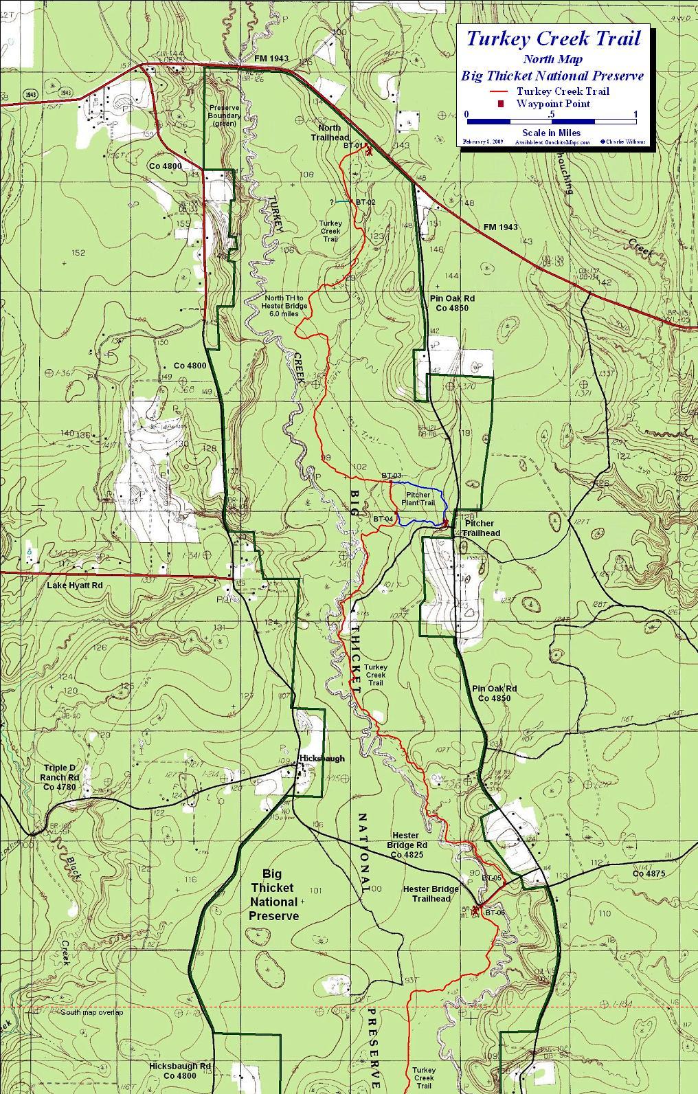 Turkey Creek Trail, Big Thicket National Preserve, Texas. Free - Texas Hiking Trails Map