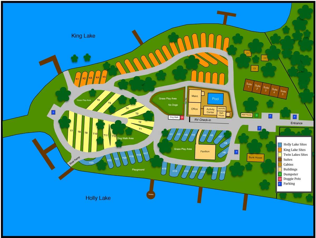 Twin Lakes Camp Resort - Florida Campgrounds Map
