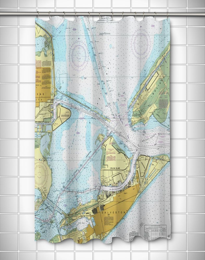 Tx: Galveston, Tx Nautical Chart Shower Curtain | Nautical Chart - Texas Map Shower Curtain