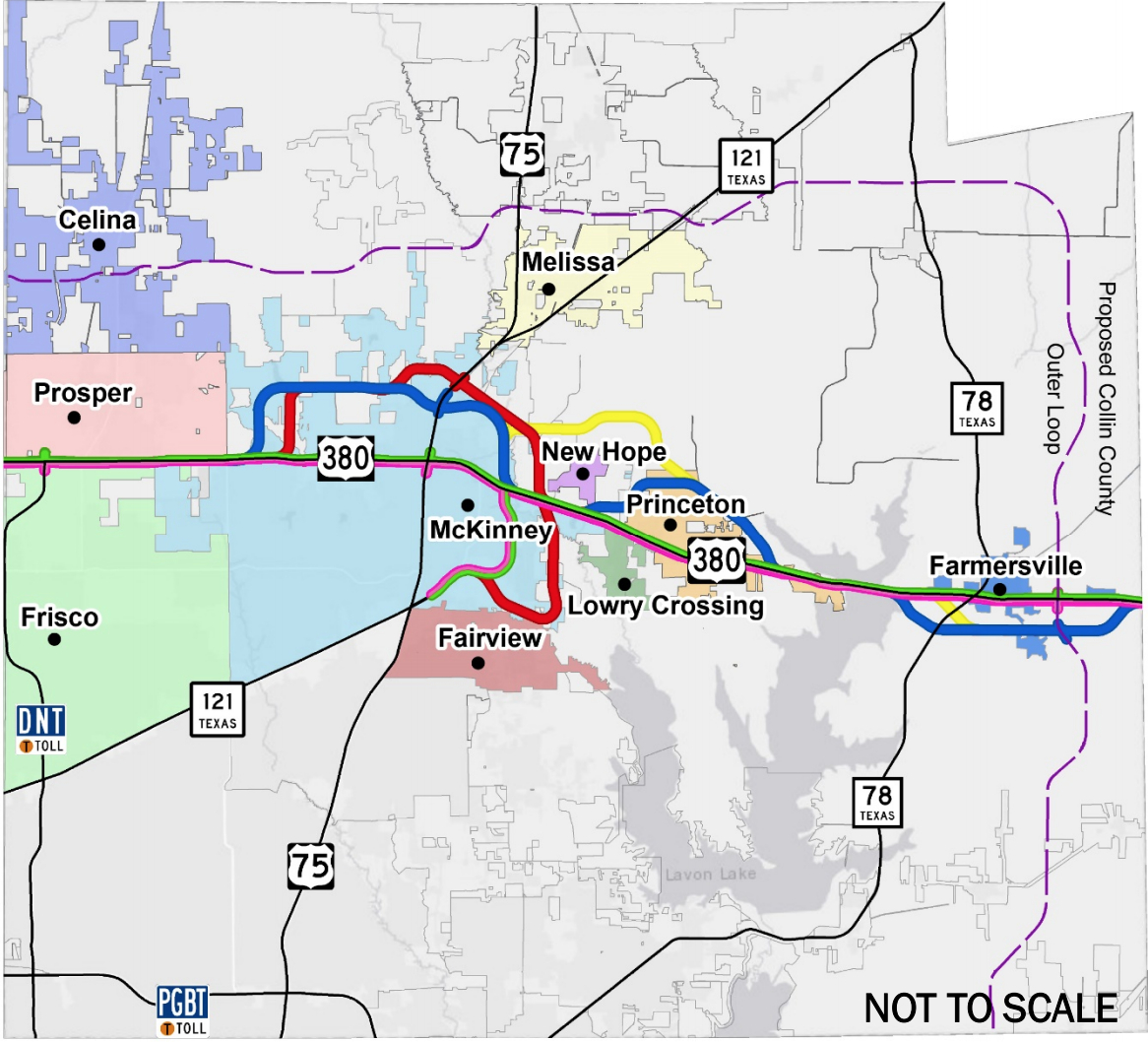 Txdot Releases 5 Potential Alignment Options For Us 380 In Collin - Collin County Texas Map
