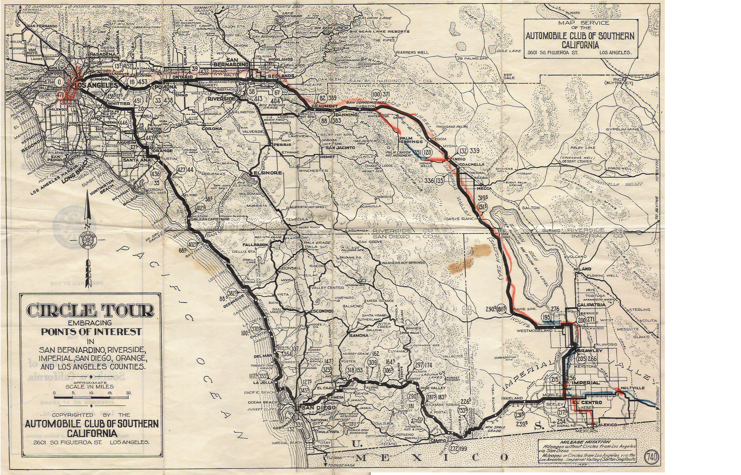 U.s. 395 - San Diego Original & Final Routes - Old Maps Of Southern California